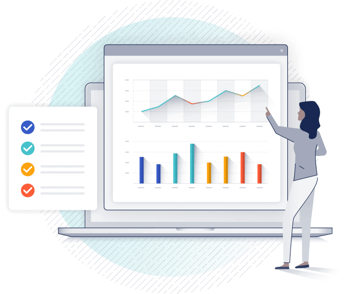 illustrated woman in front of data charts